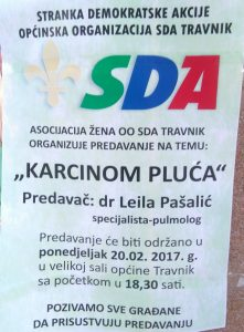 "Asocijacija žena OO SDA Travnik organizuje predavanje na temu: ""Karcinom pluća"""