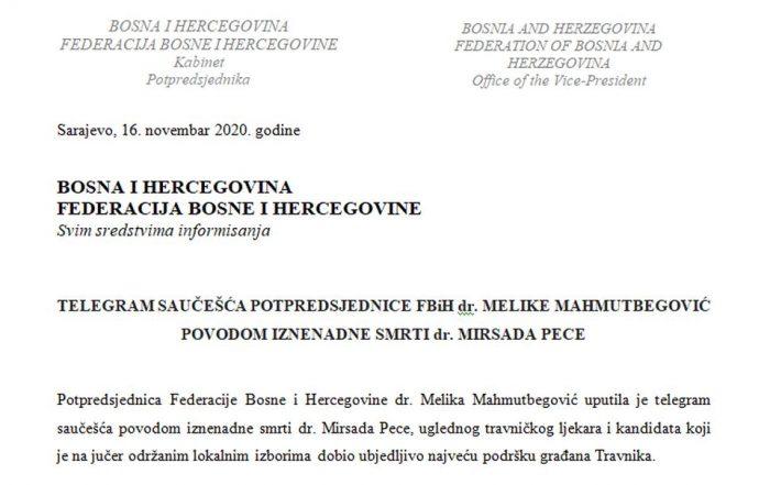 Telegram saučešća potpredsjednice FBiH povodom iznenadne smrti dr. Pece